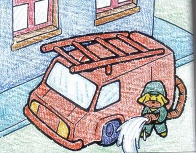 蜡笔画-可爱的消防队员
