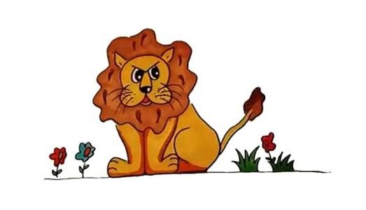 一步步教你学画带颜色的狮子简笔画步骤教程