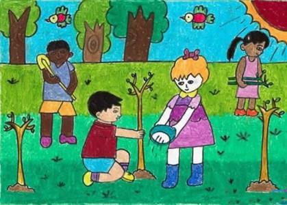 春天小朋友植树环保儿童画