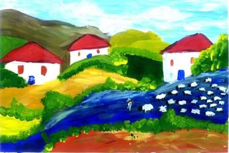 美丽的家乡风景儿童画