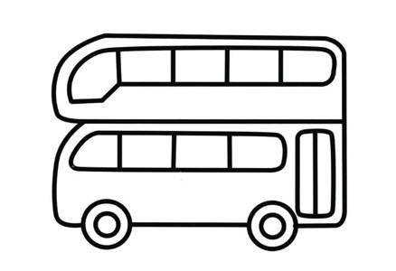 双层巴士简笔画图片_英国双层巴士简笔画彩色图片