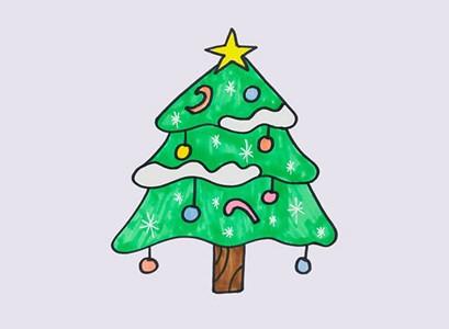 漂亮的圣诞树简笔画彩色图片