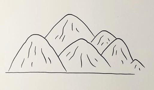 高山流水的简笔画画法步骤教程 儿童风景简笔画