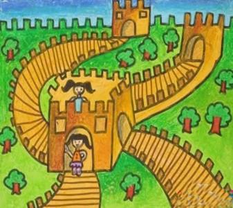 画长城的儿童画