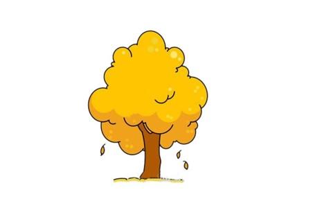 秋天的大树简笔画画法步骤图片教程