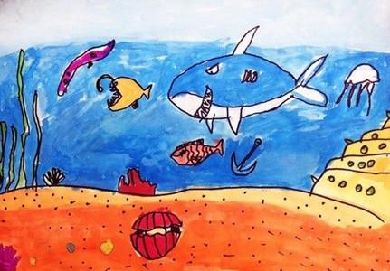 海底世界水彩画欣赏