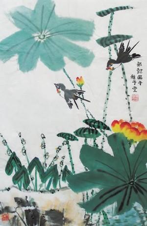 工笔画-小鸟展翅