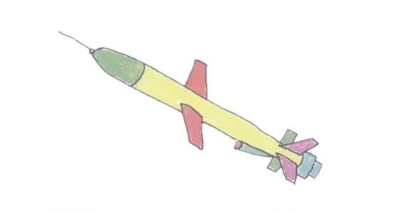 导弹简笔画的画法步骤图解教程