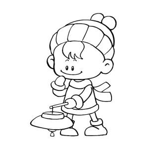 挑灯笼的小朋友简笔画