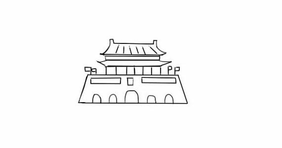 威武的天安门简笔画画法步骤教程