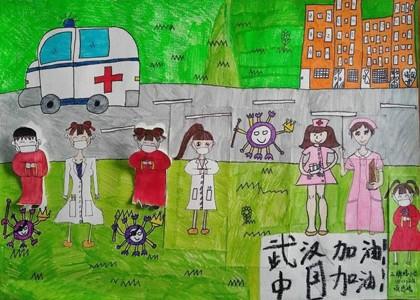 武汉加油中国加油儿童绘画作品