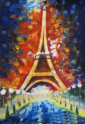 六年级巴黎埃菲尔铁塔儿童画