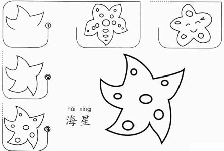 【海星简笔画】儿童海星简笔画的画法步骤图教程