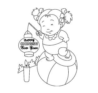 挑灯笼的小朋友过新年简笔画