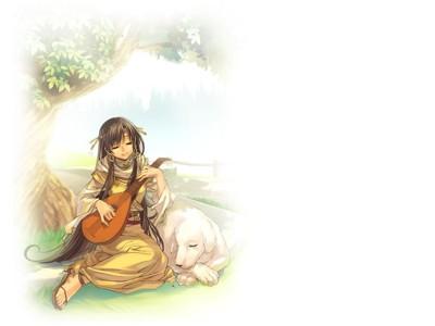 数字油画-弹琵琶的小女孩