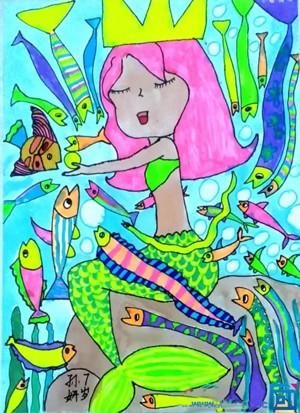 坐在石头上的漂亮美人鱼儿童画