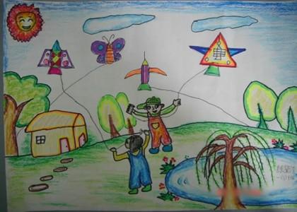 找春天儿童画放风筝