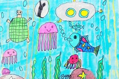 简单漂亮的海底世界儿童画