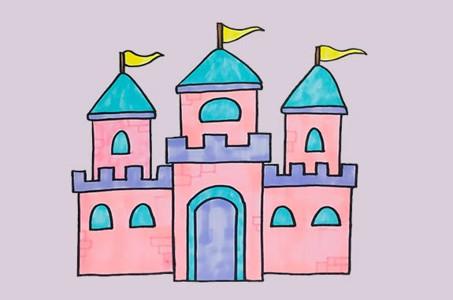 彩色城堡简笔画步骤图解