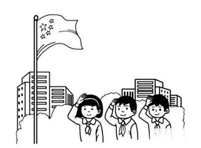 小学生升国旗怎么画