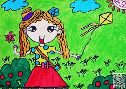 春天来了小朋友在放风筝儿童画