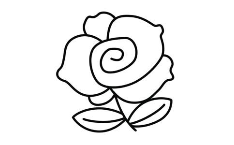 一朵红色玫瑰花简笔画法