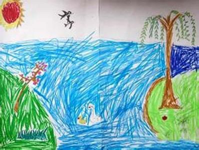 幼儿园儿童画春天来了