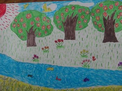 儿童春天彩色风景画