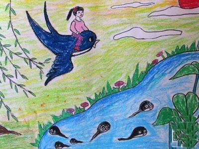 我和燕子儿童画