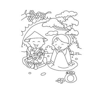 坐在草地上的两个儿童简笔画