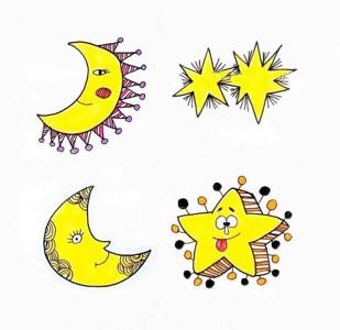 卡通星星和月亮的简笔画