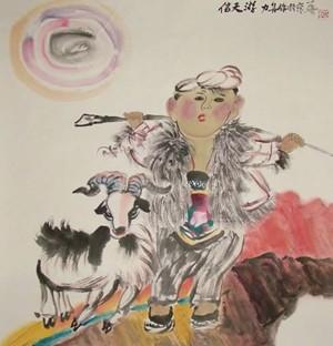 工笔画-放羊娃