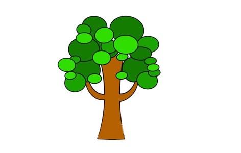 卡通大树简笔画画法步骤图片