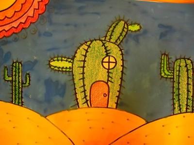 蜡笔画-倔强的仙人掌