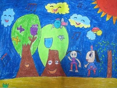 儿童画美丽的春天图画