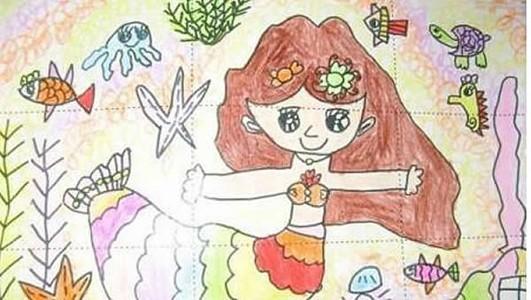 超级漂亮的美人鱼儿童画
