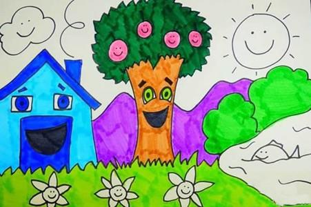春天的景色儿童画简单又漂亮