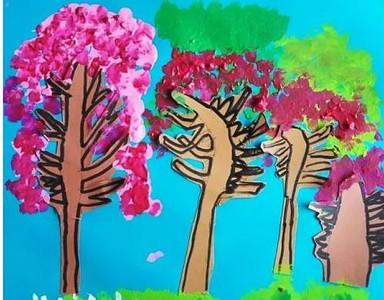 彩色的树木儿童画