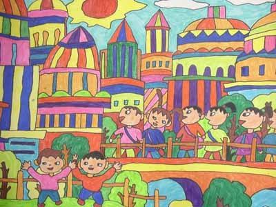 蜡笔画-热闹的大街