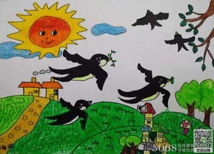 春天的燕子创意儿童画