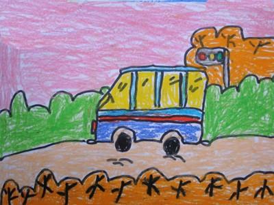 数字油画-小汽车在路上奔跑