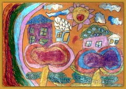 数字油画-《我设计的花房子》