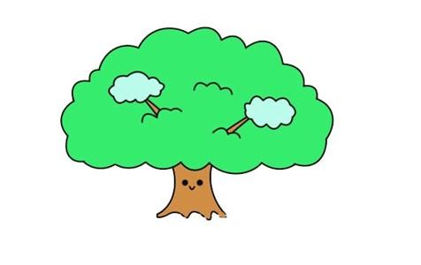 漂亮的大树简笔画画法步骤图解教程