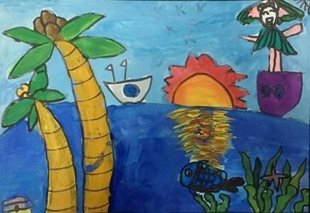 大班海上日出水粉绘画图片