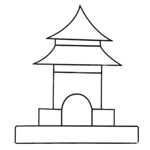 寺庙简笔画图片 幼儿学画寺庙简笔画彩色图片大全