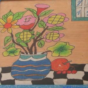 蜡笔画-美丽的花朵