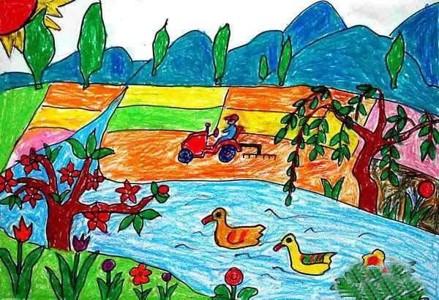 幼儿春天的田野景色儿童画