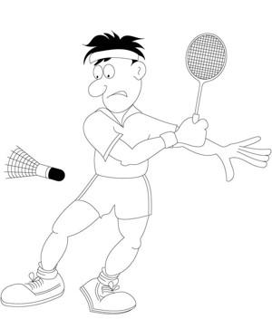 男孩打羽毛球简笔画