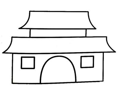 古建筑简笔画图片 幼儿学画城楼古建筑简笔画图片大全