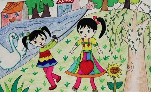 春天我们去郊游儿童画